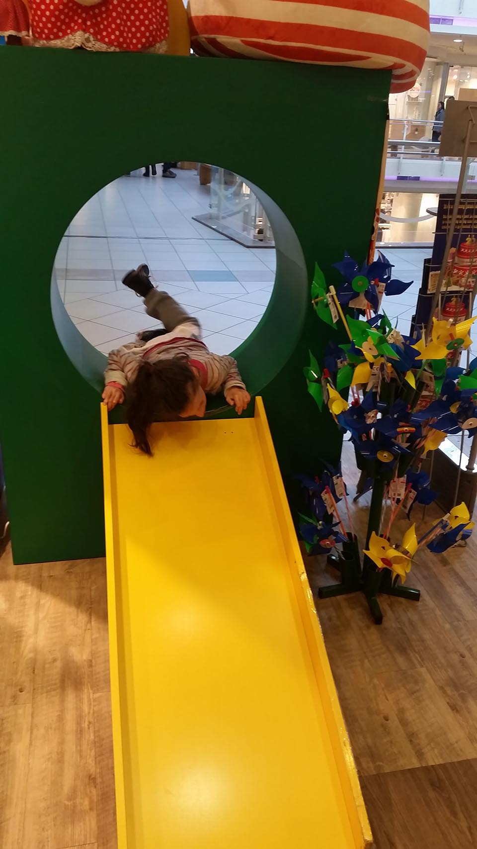 Playing in the mall