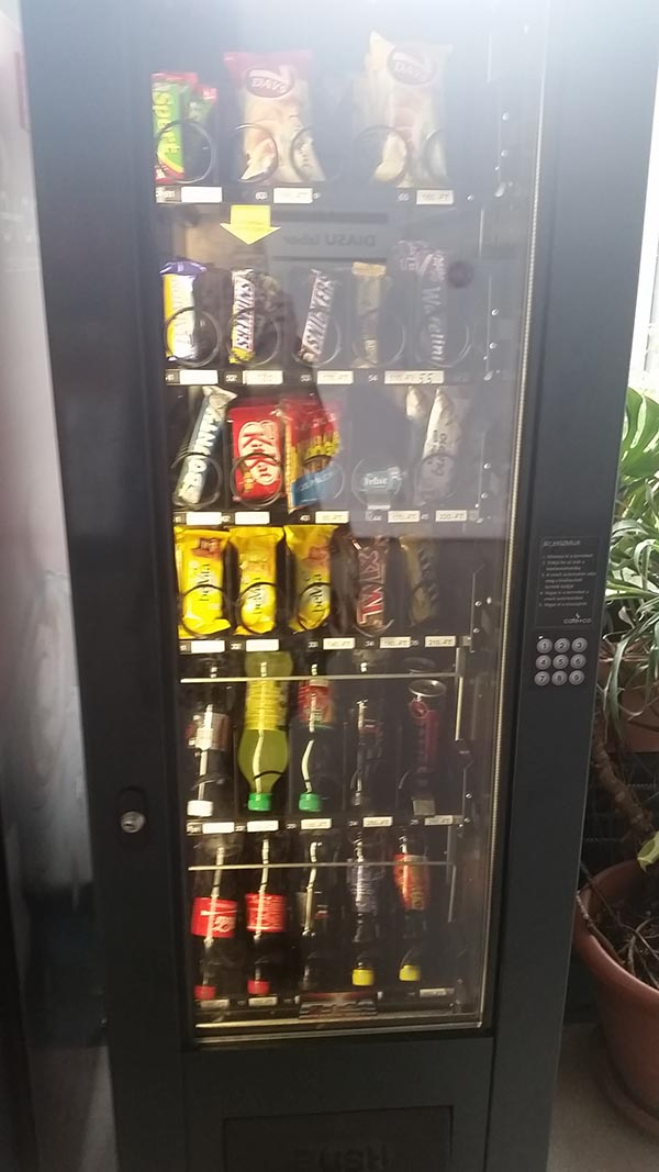 Vending machine with no coin slot.. no money slot at all